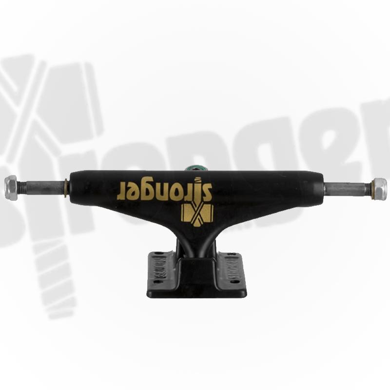Truck Stronger 139mm Hollow Profissional - Preto com logo dourado