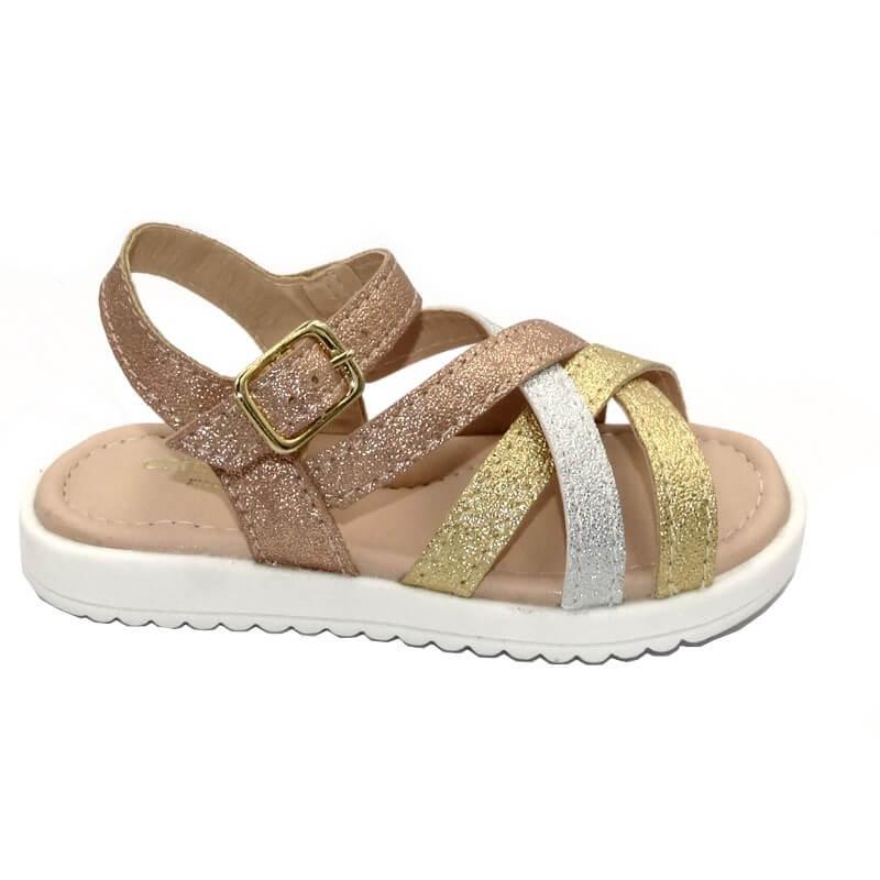 Sandália Infantil Ortopasso Cinderela Baby Dourado Prata Bronze