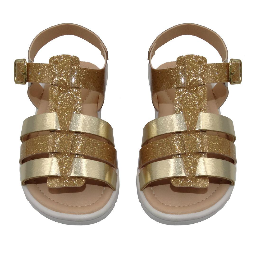 Sandália Infantil Ortopasso Cinderela Menina Dourado Glitter