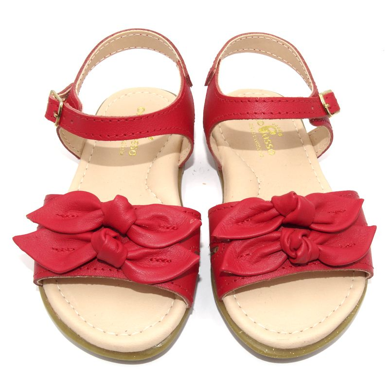 Sandália Infantil Ortopasso Flowers Menina Vermelho