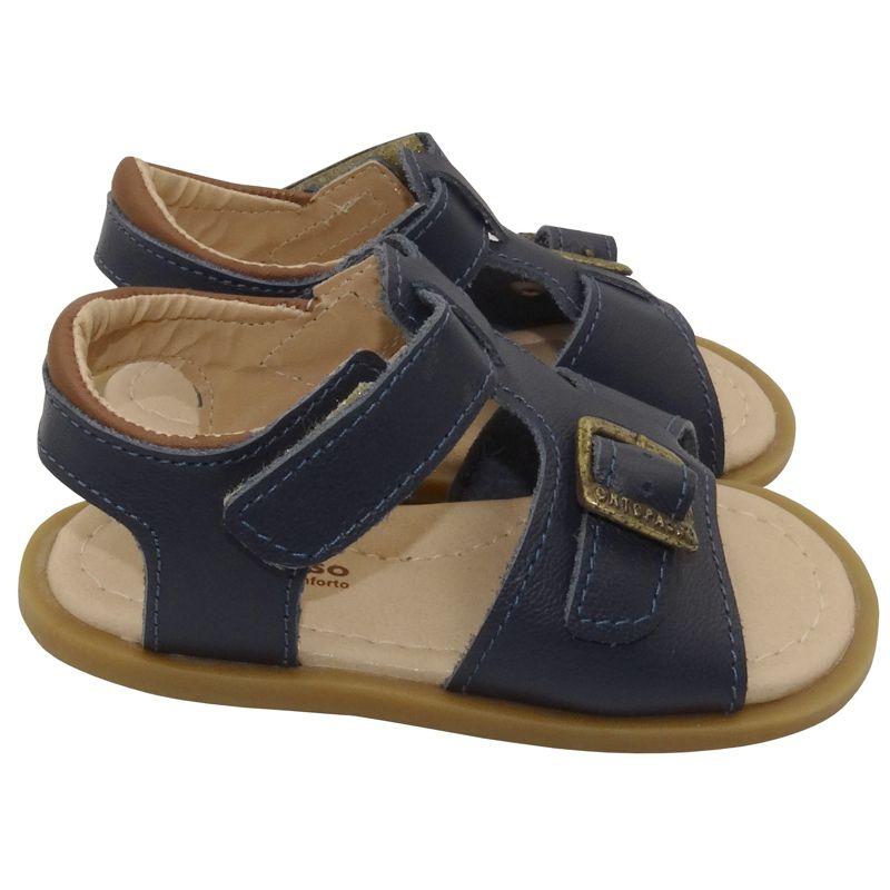 Sandália Infantil Ortopasso Pooh Menino Azul Marinho