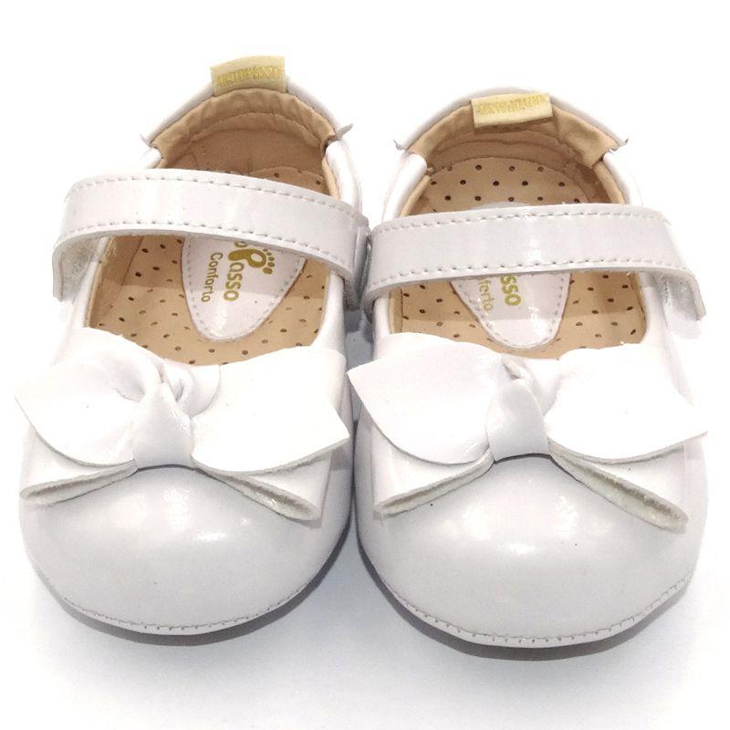 Sapatilha Infantil Ortopasso Prime Menina Verniz Branco