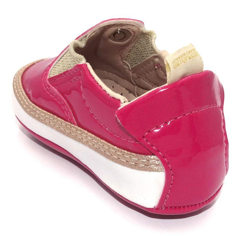 Sapatilha Infantil Ortopasso Prime Menina Verniz Pink Branco