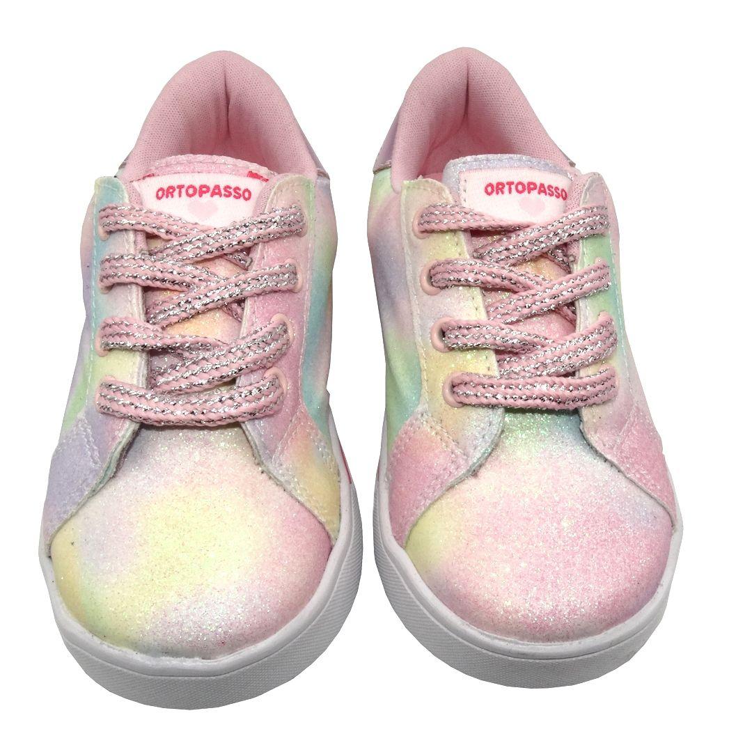 Tênis Infantil Ortopasso Happy Menina Tie Dye Rosa Colorido