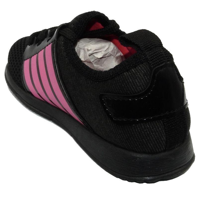 Tênis Infantil Ortopasso Jogging Menina Preto Pink
