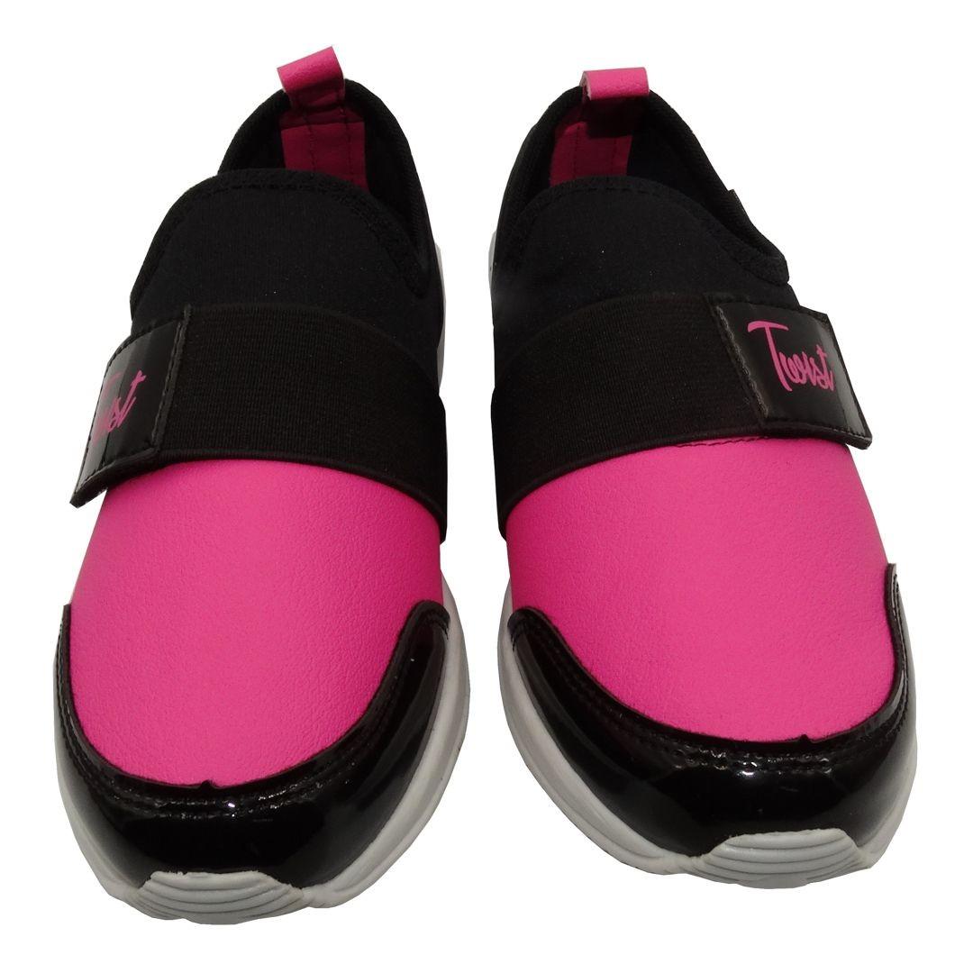 Tênis Infantil Ortopasso Jogging Menina Preto Pink Com Pulseira