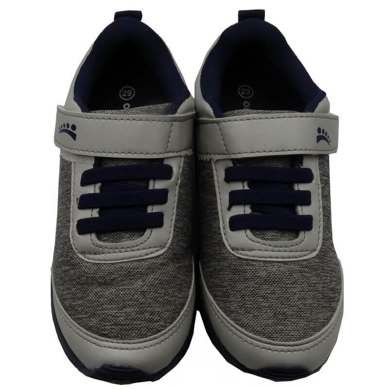 Tênis Infantil Ortopasso Jogging Menino Cinza Azul Marinho