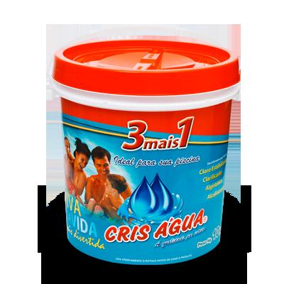 Cloro Cris Agua 3 mais 1 balde 10kg para piscinas
