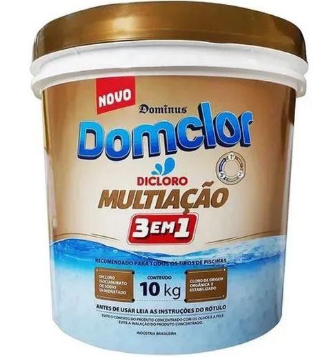 Cloro granulado Domclor Multiação 3x1 Balde 10kg  para Piscinas