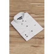 Camisa Di Sotti Slim Branco Quadriculada Grafite