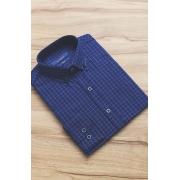 Camisa Di Sotti Slim Quadriculada Botton Azul