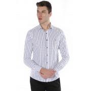 Camisa Di Sotti Slim Xadrez Fio 80 Branco