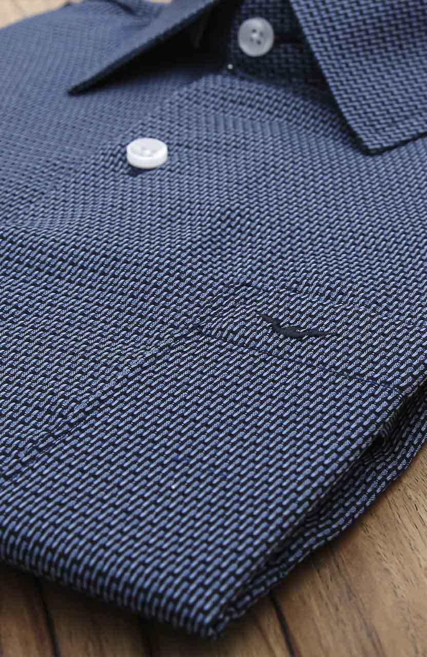 Camisa Di Sotti Comfort Navalhada Azul Marinho