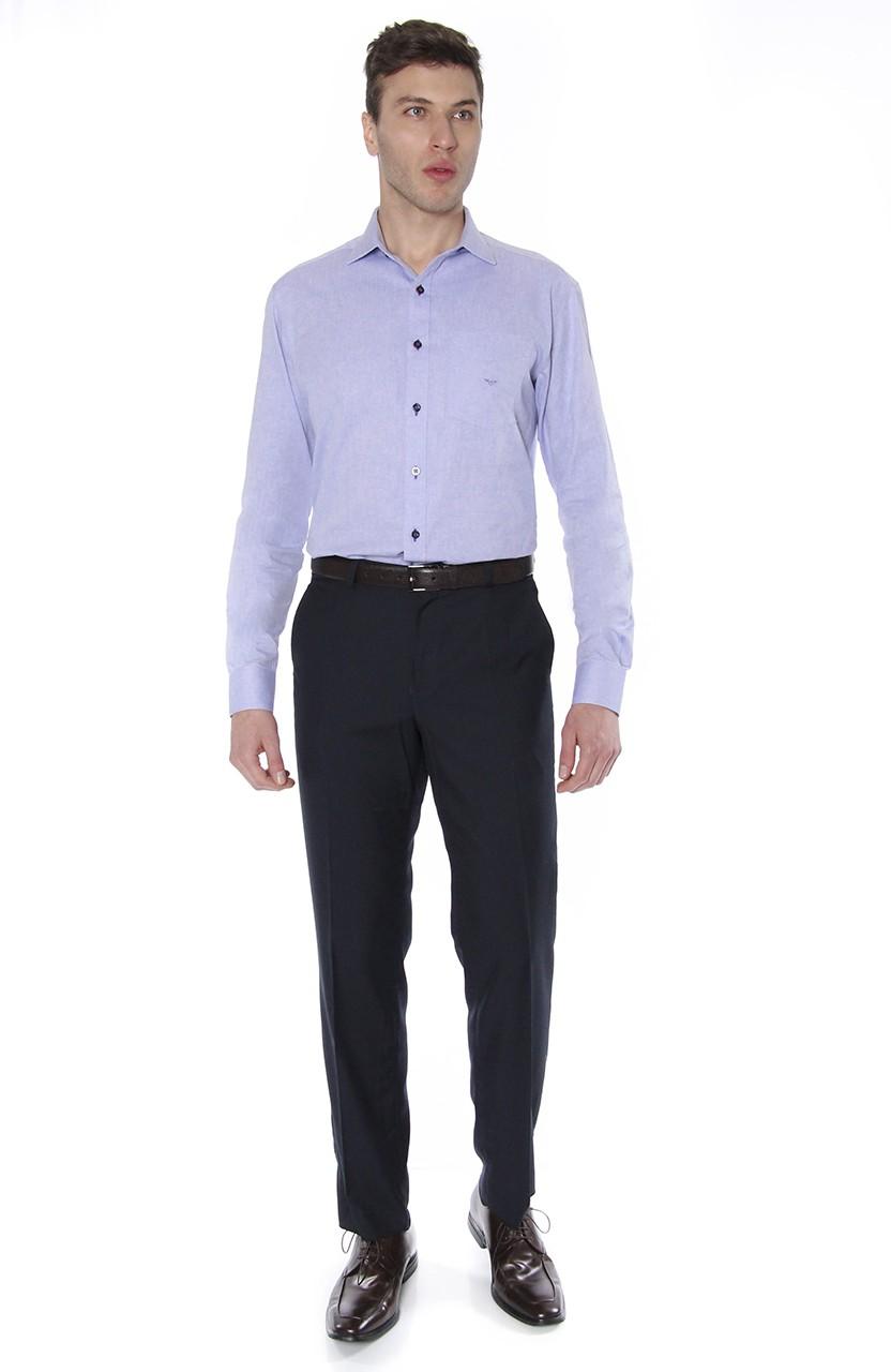 Camisa Di Sotti Comfort Oxford Azul médio
