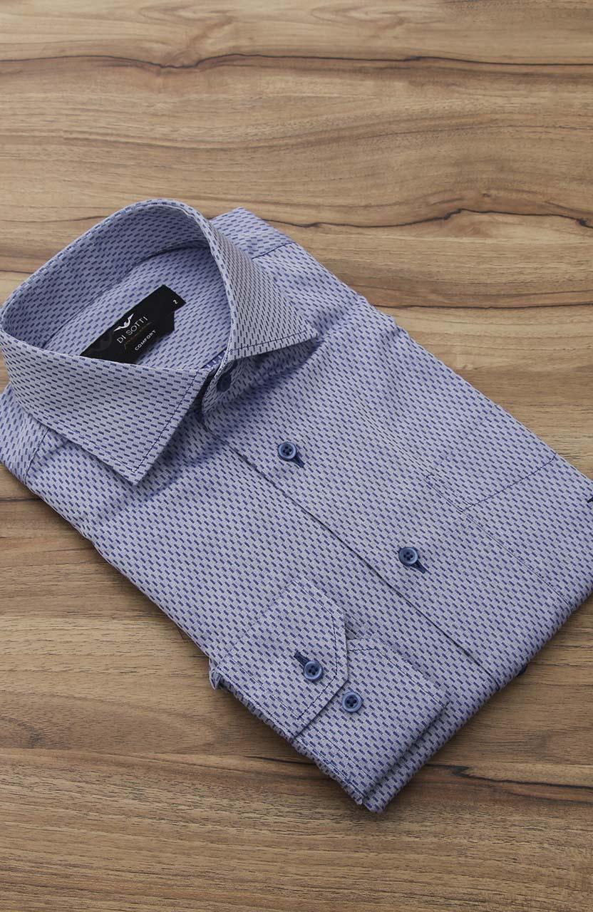 Camisa Di Sotti Comfort Premium Azul Marina