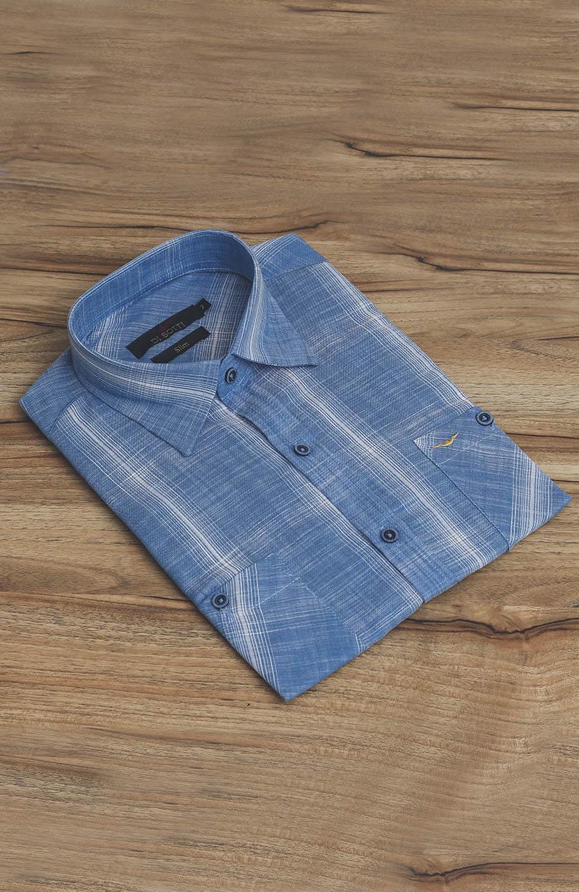 Camisa Di Sotti Manga Curta Azul Xadrez
