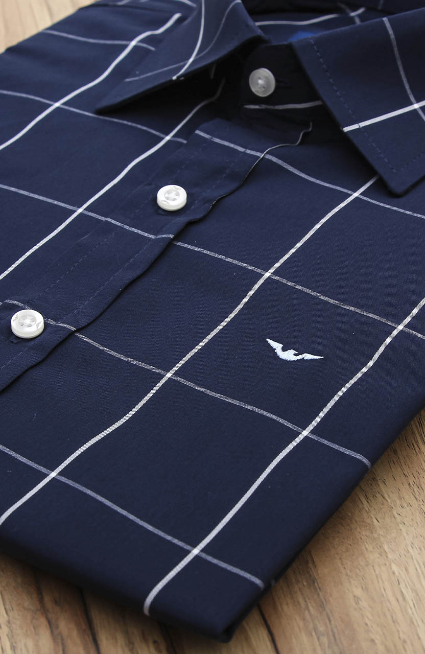 Camisa Di Sotti Slim Azul Xadrez Quadriculada