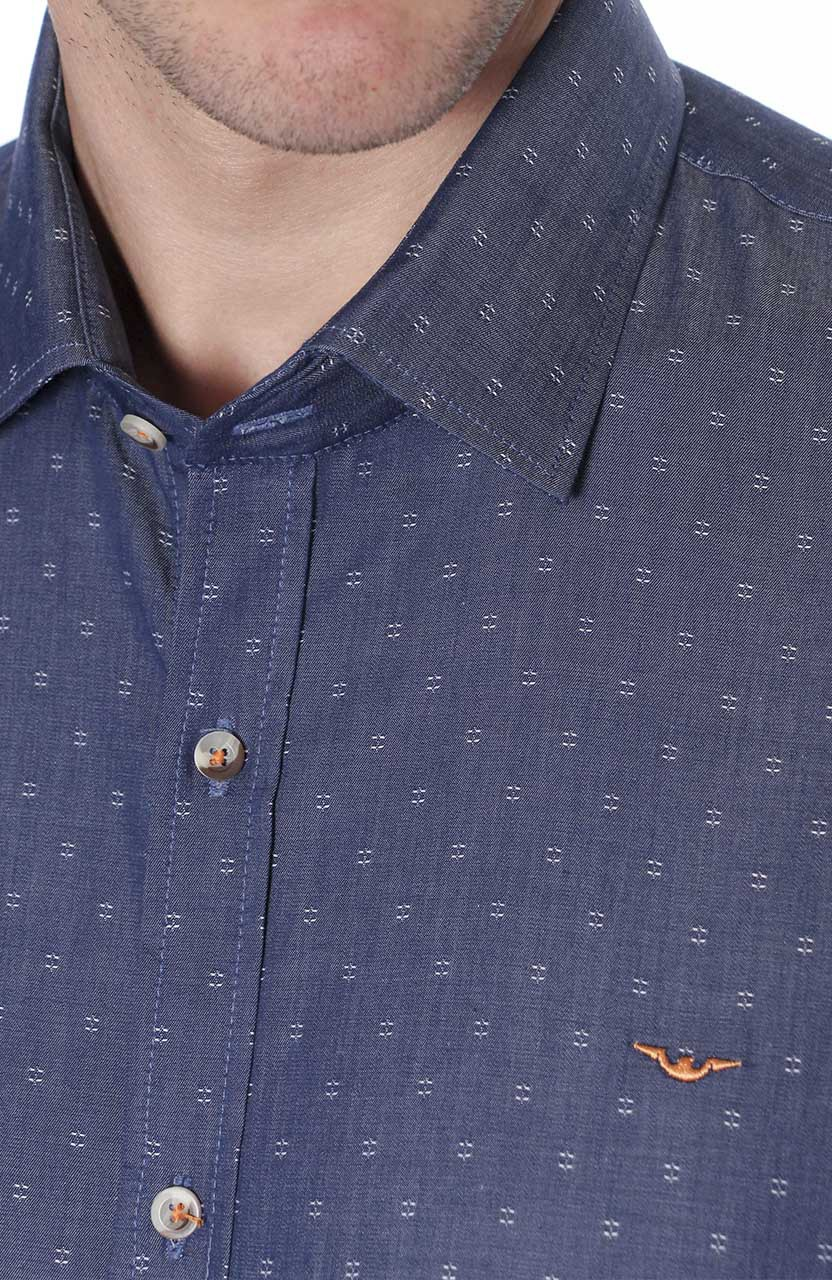Camisa Di Sotti Slim Denin Dobby Jeans
