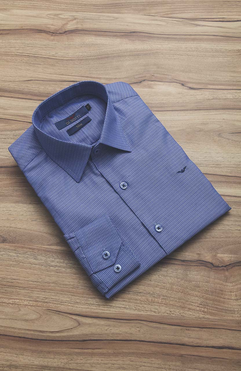 Camisa Di Sotti Slim Enzo Azul Médio