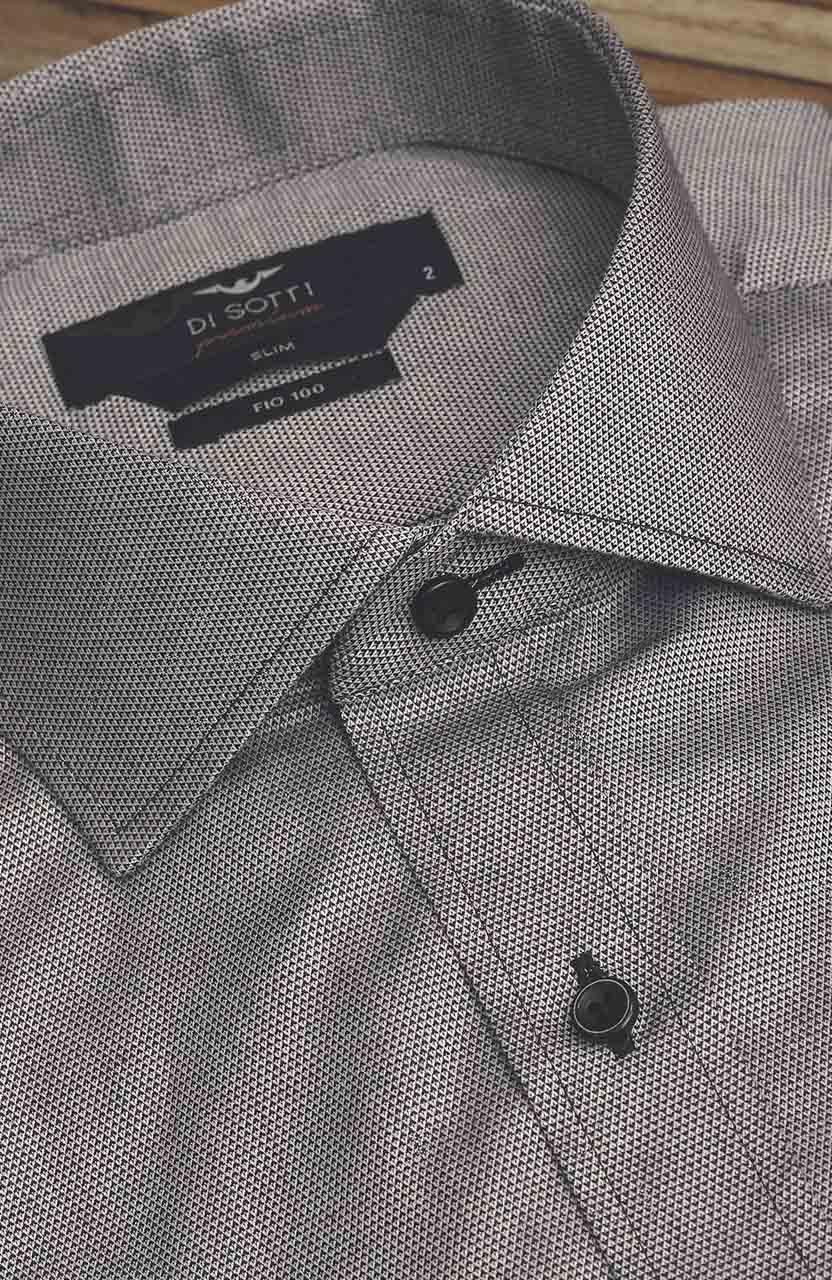 Camisa Di Sotti Slim Fio 100 Cinza Gelo