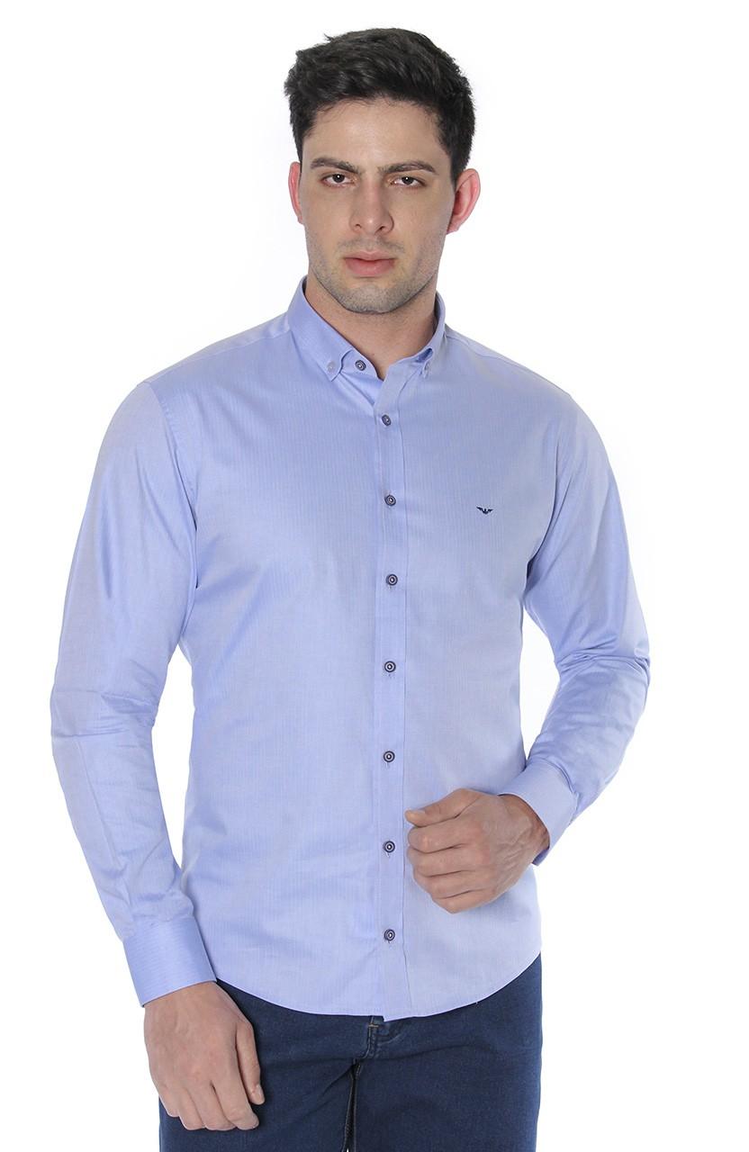 Camisa Di Sotti Slim Fio 80 Azul Clássico