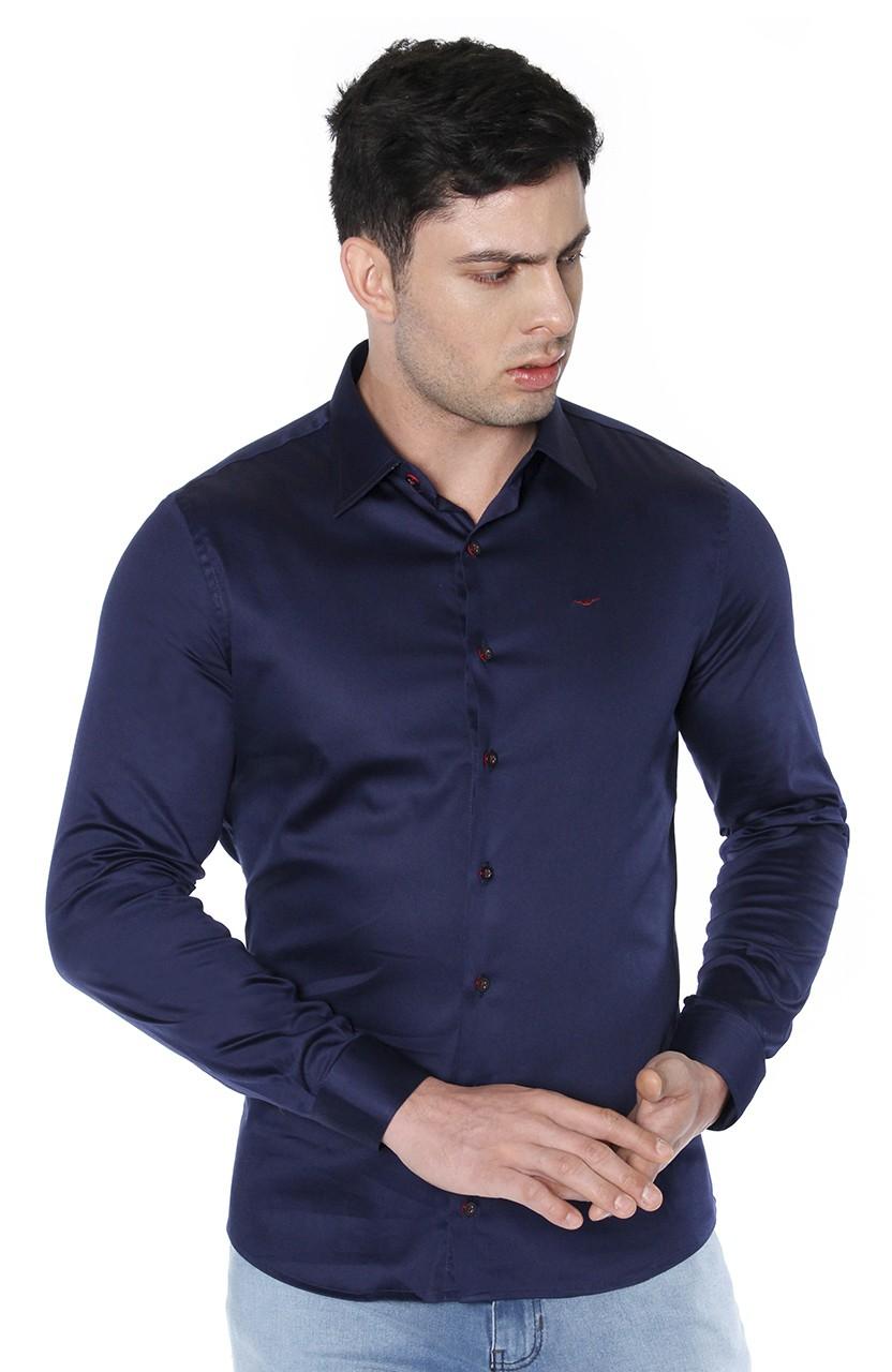 Camisa Di Sotti Slim Fit com elastano Azul Marinho