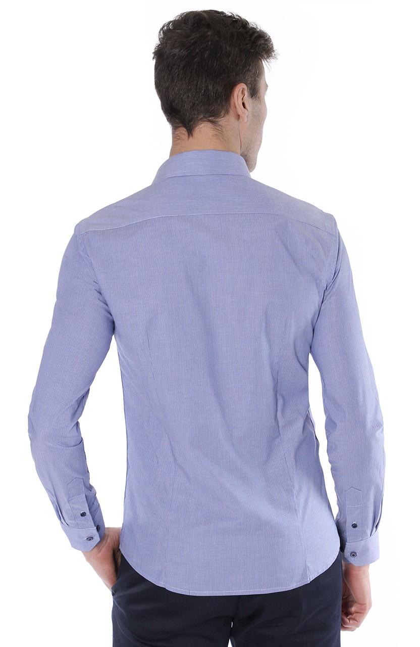 Camisa Di Sotti Slim Fit com elastano  Azul médio