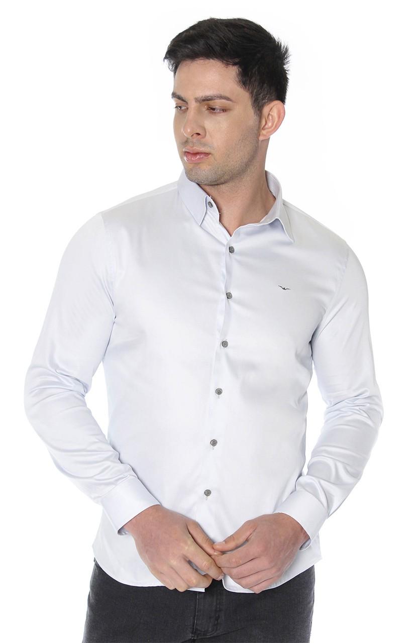 Camisa Di Sotti Slim Fit com elastano Gelo