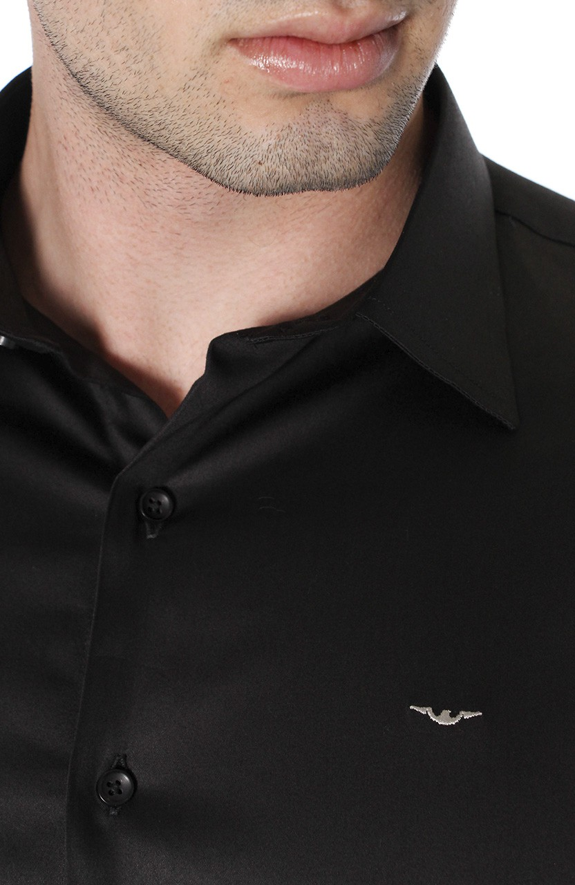 Camisa Di Sotti Slim Fit com elastano Preto