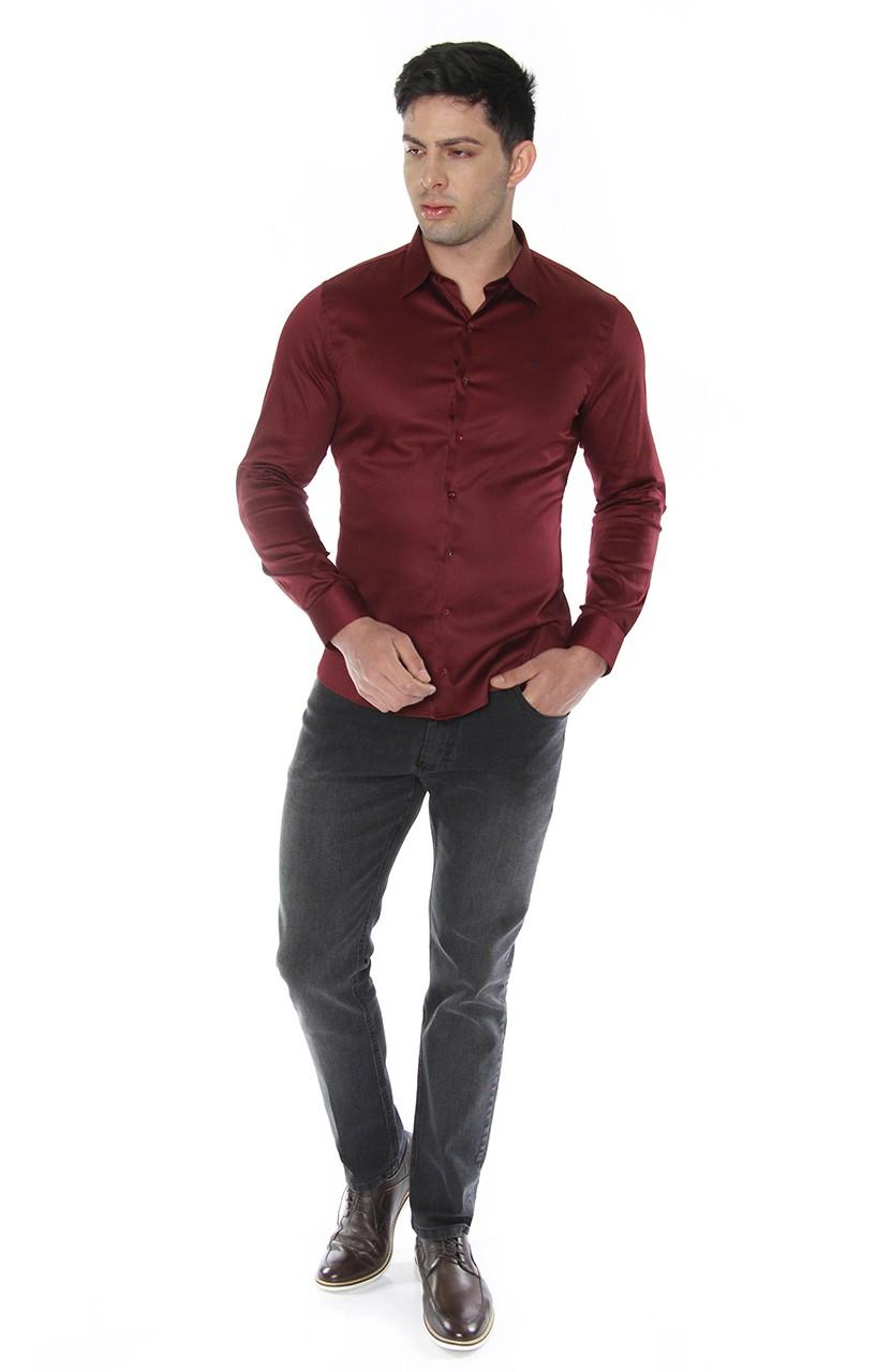 Camisa Di Sotti Slim Fit com elastano Vinho