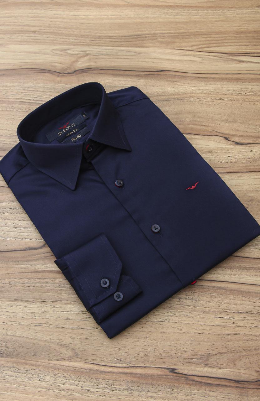 Camisa Di Sotti Slim Fit Fio 60 Elastano Azul