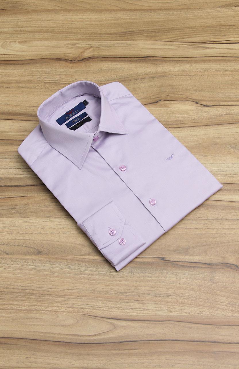 Camisa Di Sotti Slim Fit Fio 60 Lilás