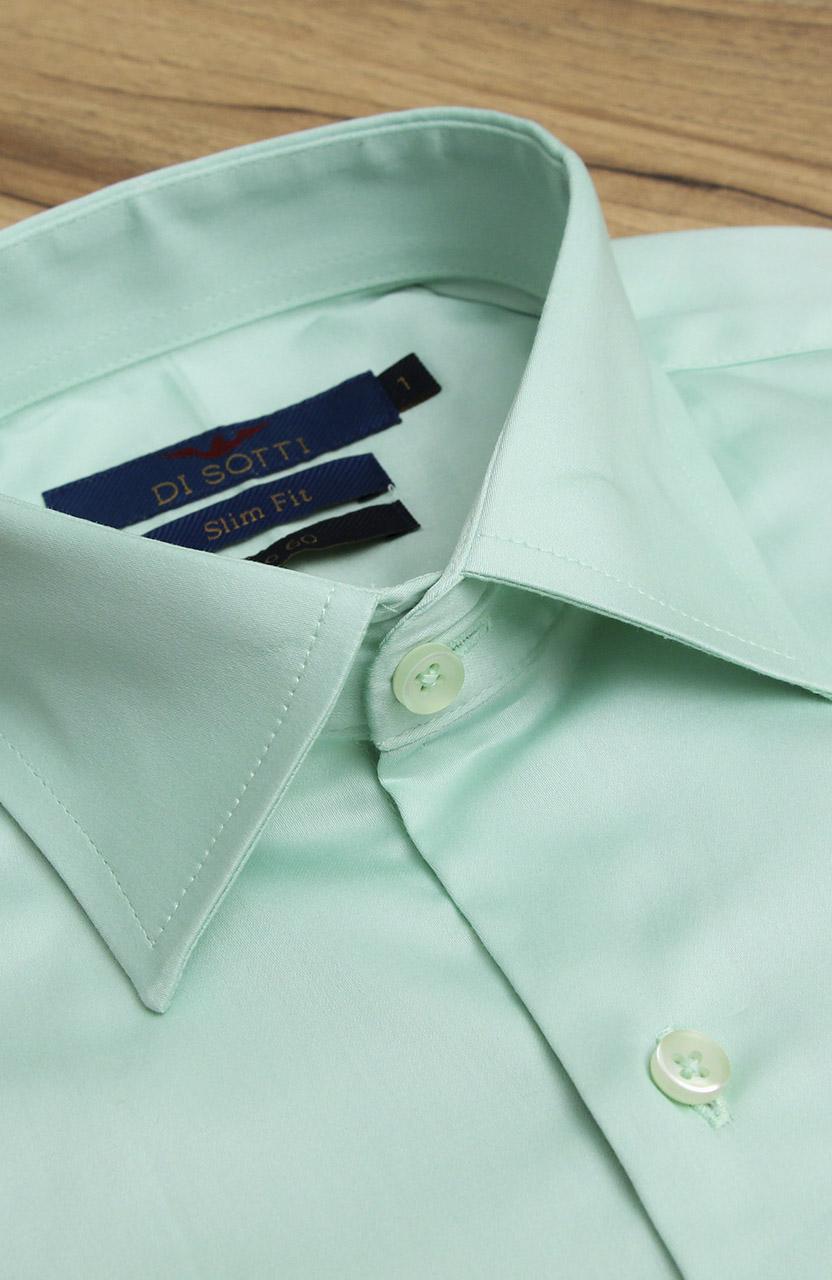 Camisa Di Sotti Slim Fit Fio 60 Verde água