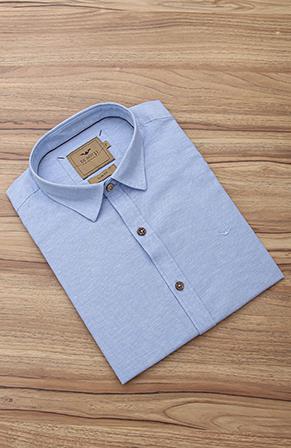 Camisa Di Sotti Slim Fit Linho Blue Classic