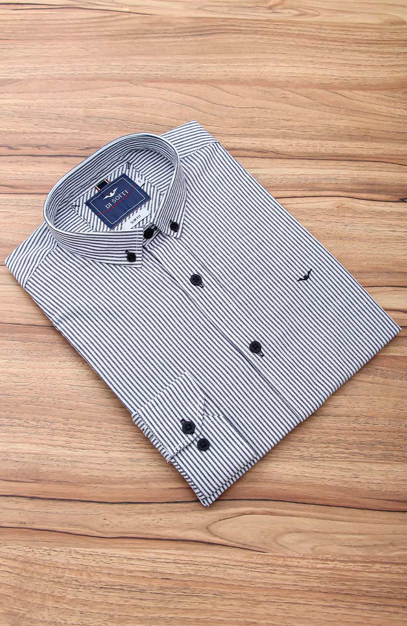 Camisa Di Sotti Slim Fit Listras Marinho e branco