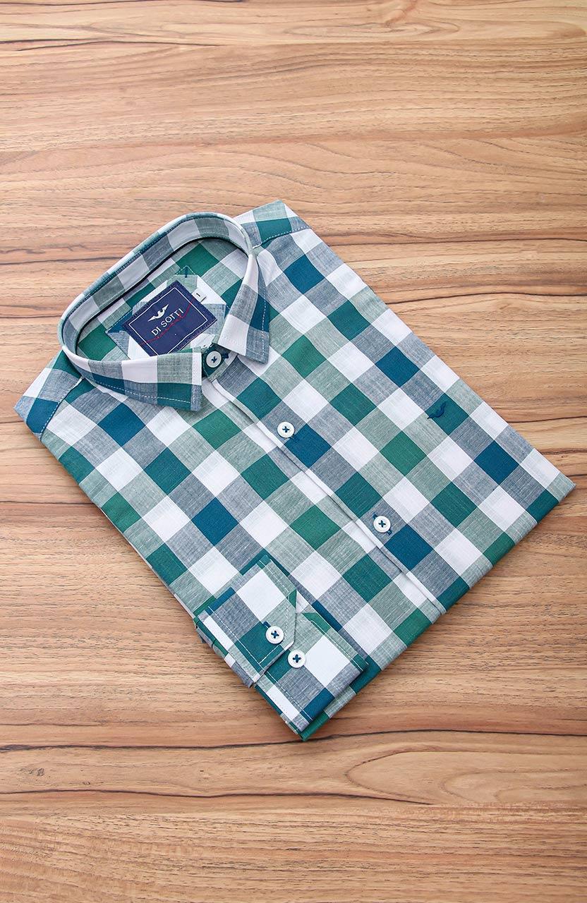 Camisa Di Sotti Slim Fit Xadrez Verde e branco