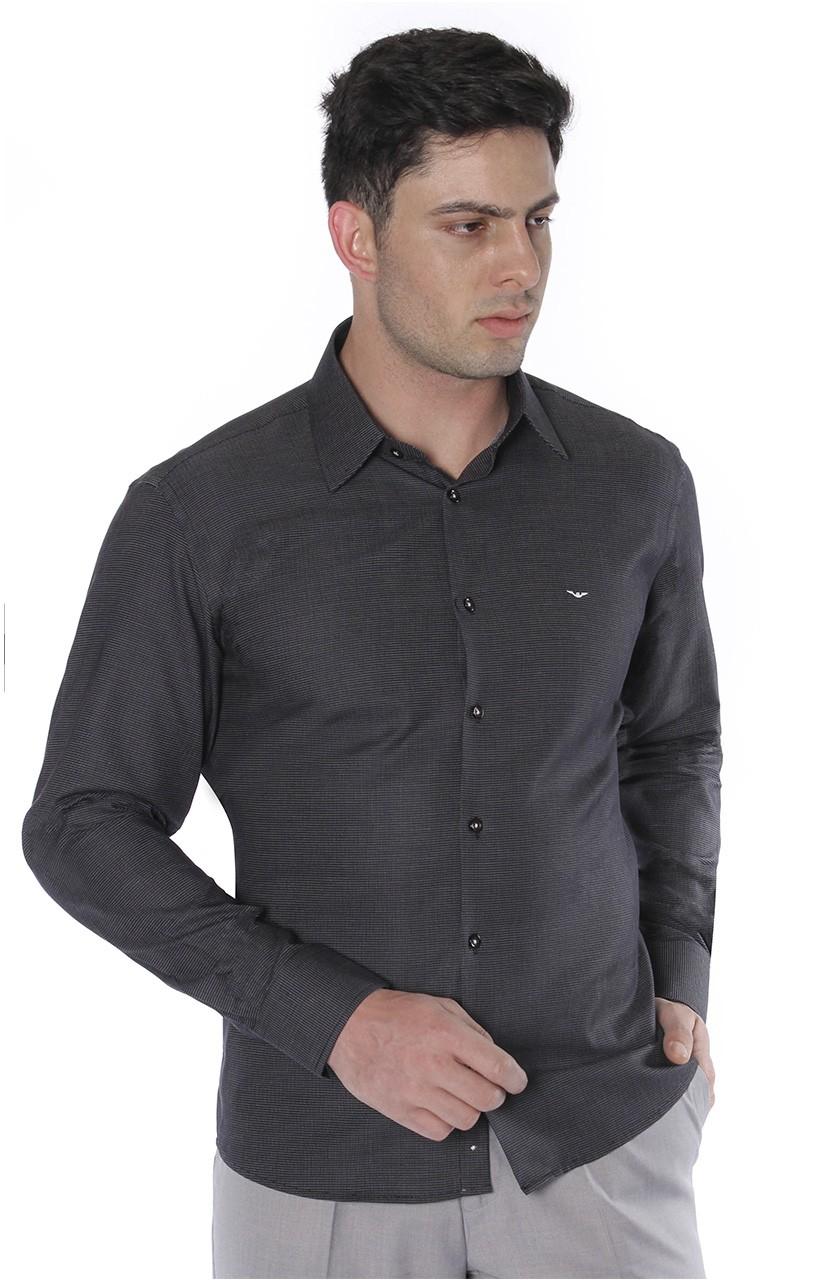 Camisa Di Sotti Slim Poá Preto