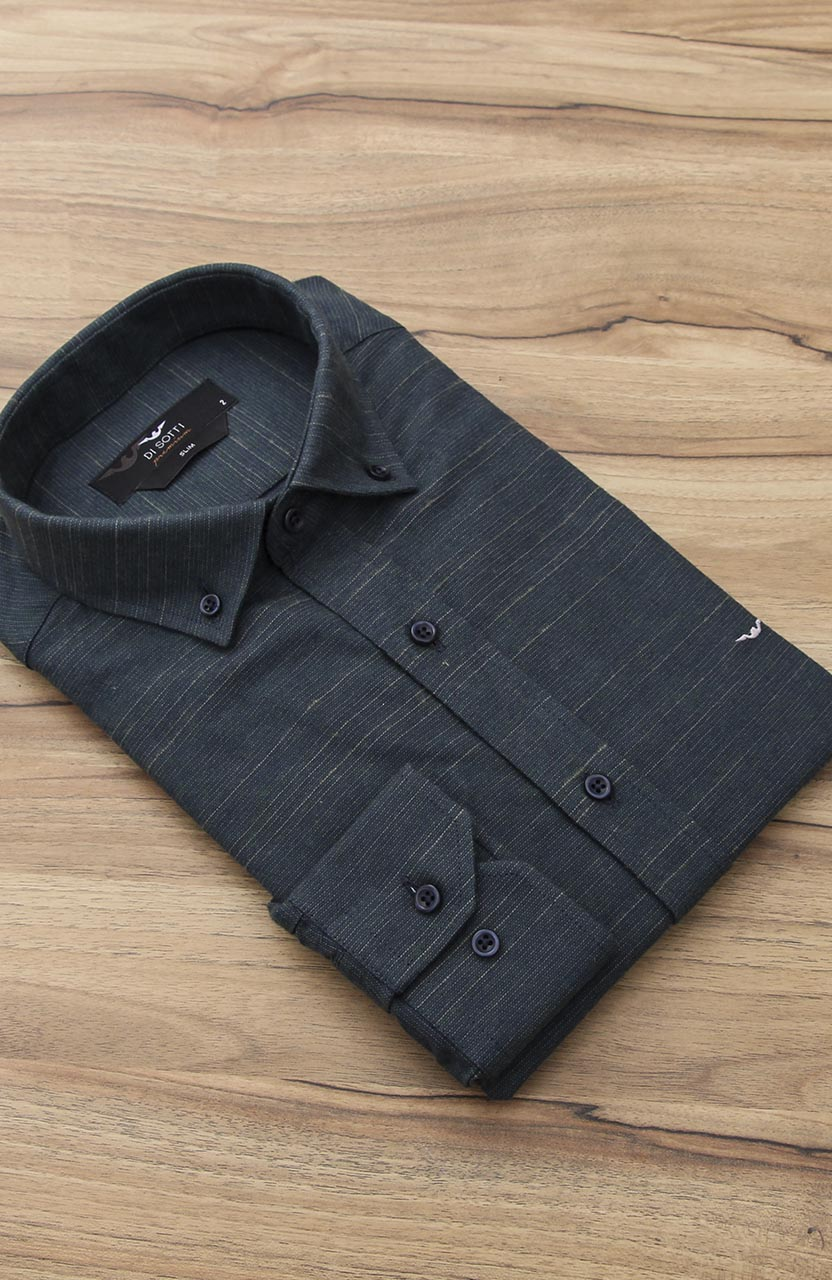 Camisa Di Sotti Slim Premium Verde Oliva