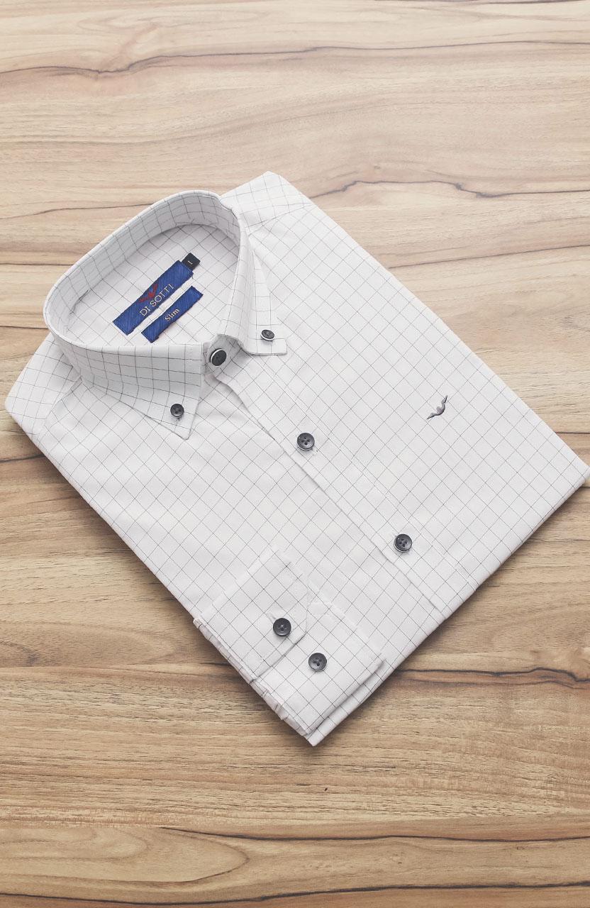 Camisa Di Sotti Slim Quadriculada Botton Branca