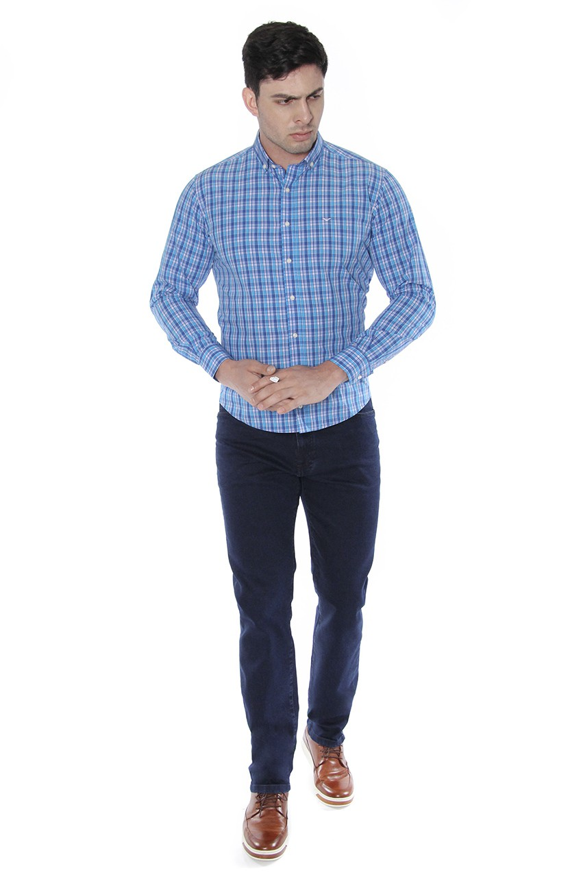 Camisa Di Sotti Slim Xadrez Fio 80 Azul Cyan