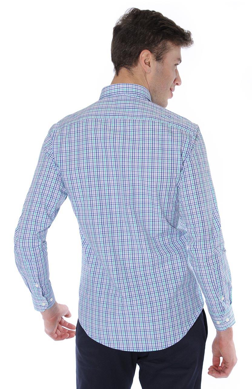 Camisa Di Sotti Slim Xadrez Fio 80 Azul médio