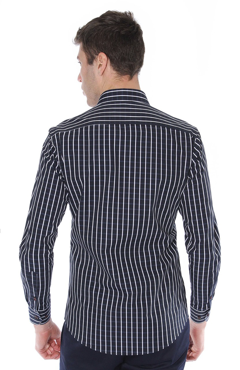 Camisa Di Sotti Slim Xadrez Fio 80 Marinho