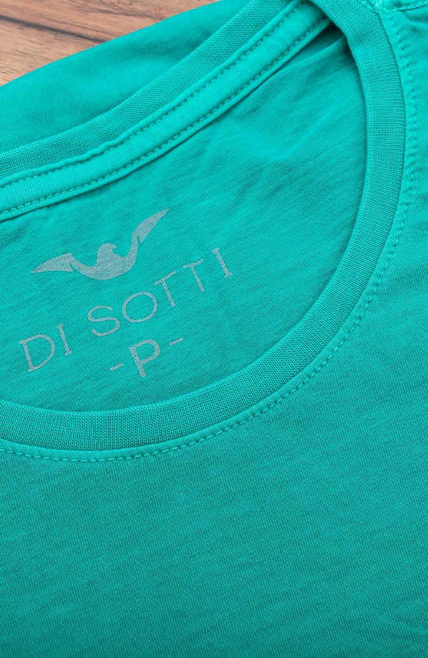 Camiseta Di Sotti T-Shirt Meia malha stonada Verde aspen