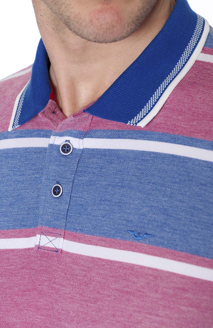 Polo Di Sotti Rapport Dots Azul com rosa