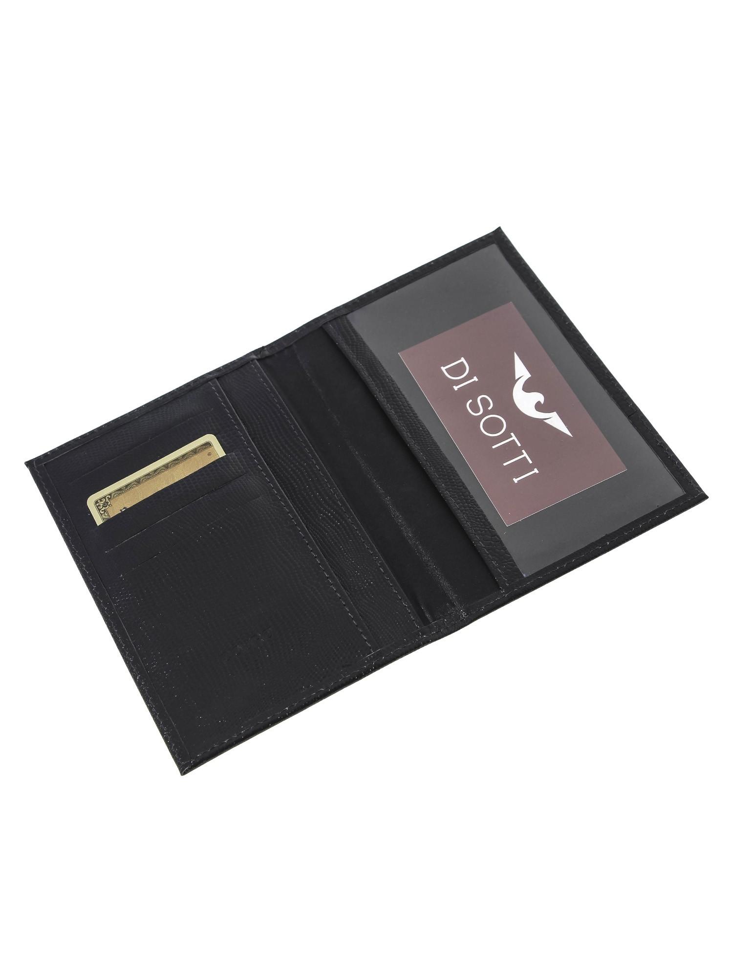 Porta passaporte Di Sotti em Couro Preto
