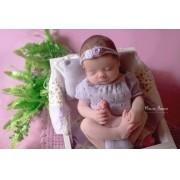 Body Chanel e Headband Newborn Lilás