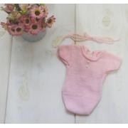 Body Japonesa e Headband Newborn Rosa bebê