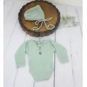 Body Longo e Touca Newborn Verde Platina