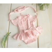 Body Vestido Cecília Newborn Rosa bebê