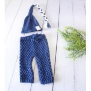 Calça e Touca Sonequinha Newborn Azul Tirreno